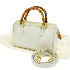 Authentic GUCCI Logos 2way Bamboo Hand Bag White Leather Vintage Italy S05587