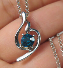 AQUAMARINE CRYSTAL RHINESTONE SILVER PLATED PENDANT NECKLACE WITH CHAIN R40