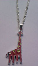 "Cute Red Giraffe Pendant - 16"" or 18"" Chain - Necklace Gift - For Girls"