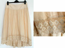 MONSOON Ivory Cotton Victoria Asymmetric Lace Hem Summer Skirt size 12 M rrp £45
