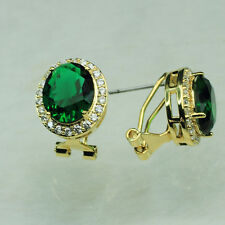 18K Yellow Gold Filled Large Emerald Clear CZ Women Fashion Stud Earrings E1488A