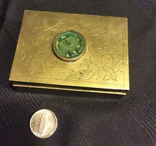 Antique Brass Wood-Lined Trinket Jewelry Box Jade Decor