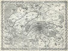 GEOGRAPHY MAP ILLUSTRATED ANTIQUE COLTON PARIS LARGE POSTER ART PRINT BB4297A