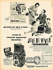 PUBLICITE ADVERTISING 124  1957  SEMFLEX   appareil photo JOIE DE VIVRE