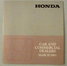 Honda Car and Commercial Dealers List March 1983 UK