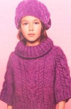 Girls Poncho Style Jumper ( Age 4 - 12 years ) Knitting Pattern