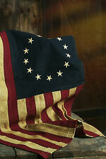 "Primitive Colonial Cotton 26"" x 17"" Betsy Ross 13 Stars American ""Aged"" FLAG"