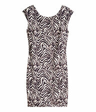 WOMENS H & M ZEBRA PRINT STRETCH BODYCON MINI DRESS XS BNWT RRP £13.99