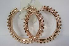 "New Women 3.5"" Large Hoop Metal Chains Big Fashion Hook Earrings Rose / Gold"