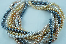 4 Colors/Strands 8mm white/Gold/Champagne/Dark Grey Acrylic Round Pearl Beads