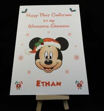 Personalised & Handmade Mickey Mouse First Christmas Card -Son,Grandson. Nephew
