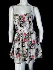 HELL BUNNY M DRESS flamingo skull rose print rockabilly cotton sexy punk S cute