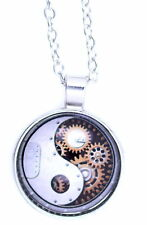 Vintage style yinyang yin yang sign and gearwheel pendant necklace