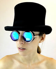 New Sunglasses Cyber Steampunk Glasses Unisex Victorian Fantasy Blue Mirrored