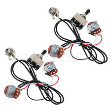 2 Sets Guitar Wiring Harness Two Pickup 500K 3 Way Toggle Switch Chrome