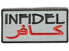 "(A24) INFIDEL Gray Arabic 3.5"" x 1.75"" sew / iron on patch (3998) Biker Military"