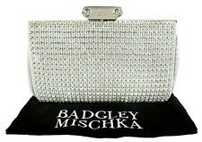 BADGLEY MISCHKA Silver Cybil Crystal Stone Clutch Bag Msrp $375