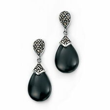 Elements Silver Teardrop Stud Drop Earring with Marcasite and Onyx