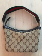 Gucci Small 7 Inch By 5 Inch Canvas Baguette Handbag