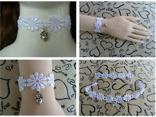 WHITE Lace Set Choker(Necklace) + Bracelet. Fancy dress. Wedding Party SET. S003