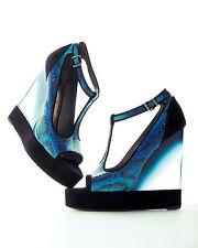 Lanvin Snake T-Strap Lucite-Wedge Sandal Sz:38.5 Retail $1,990 NEW