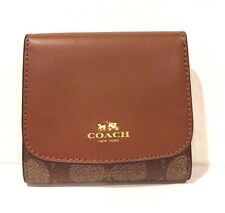 NWT Coach Signature PVC & Leather Small Wallet Khaki/Saddle F53837~Beautiful!