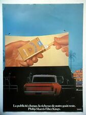 PUBLICITE-ADVERTISING :  PHILIP MORRIS Filter Kings  1977 Cigarettes,Drive-In
