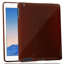 Flexible Glossy Luxurious Rubberised Back Cover For Apple iPad 2 -Brown