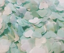 Duck egg green & white heart wedding confetti -party decorations - biodegradable