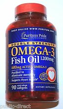 Double Strength Omega 3 Fish Oil 1200mg 600mg EPA DHA Heart Health Softgels Pill