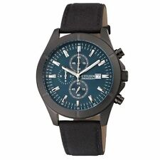 New Citizen Men's AN3525-01L Chronograph Black Canvas Strap Watch WR 100M