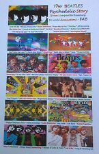 Stunning/Unique Psychedelic BEATLES Poster, A4 size with RARE pics & song titles