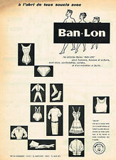 PUBLICITE ADVERTISING 015  1957   BAN-LON   sous vetements slip