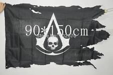Assassins Creed flag Shredded Skull Jolly Roger Pirate decor 90 3*5 ft 90*150 cm