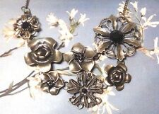 BRONZE FLOWER BIB NECKLACE dark brass black gold floral long sweater chain D5