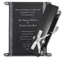 50 Personalised Day Evening Birthday Wedding Scroll Invitations Programs
