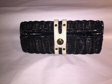 pre-loved authentic KATE SPADE black lacquered wicker/leather CLUTCH PURSE $279