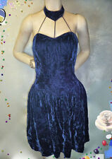 Vintage 80s Dress 1980s Crushed Sapphire Blue Bird cage Mini velvet sexy party