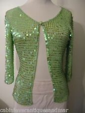 Designer Formal Party Bridal Cruise Green Crochet Sequin Cardigan Sweater Top 36