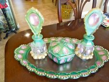 hand painted LE Smith Beaded Medallion Glass Perfume Bottle Trinket Vanity Set