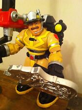 vintage Fisher Price Rescue Heroes Large Fireman Firemen with Badge/Accessories