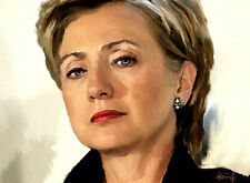 """HILLARY CLINTON Portrait Painting Drawing Giclee Canvas Signed 16""""x20"""" Fine Art"""