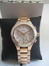 DKNY CHAMBERS LADIES WATCH NY2396 ROSE GOLD STAINLESS STEEL CRYSTALS BNIB