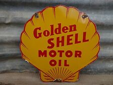 GOLDEN SHELL MOTOR OIL PORCELAIN USED ADVERTISING SIGN LUBESTER GAS PUMP PLATE
