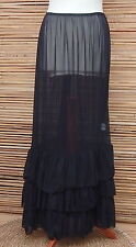 LAGENLOOK MAXI PETTICOAT UNDERSKIRT/DRESS*BLACK*MADE IN ITALY WAIST UP TO  48""