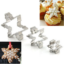 3pcs Xmas Snowflake Biscuit Cookies Cake Fondant Decorating Cutter Mold Mould