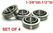"FOUR FLANGED BEARINGS 1-3/8"" OD, 1/2"" ID, GO KARTS, GO-KARTS, DOLLIES, WAGONS"