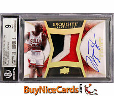 2008-09 Michael Jordan Exquisite Limited Logos 3 Color Patch Auto /23 BGS 9 / 10