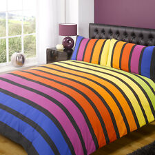 BRIGHT STRIPED STRIPEY QUILT DUVET COVER BEDDING SET BLACK GREY BLUE GREEN BROWN