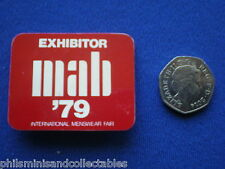 MAB - International Menswear Fair 1979   ' Exhibitor  '  pin badge